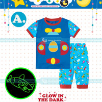 Baju Tidur/Piyama Anak Laki laki Glow in The Dark Space Biru