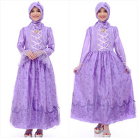 baju muslim anak princess rapunzel