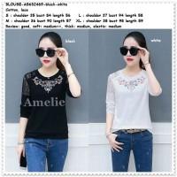 Baju Atasan Bordir Net Blouse Wanita Korea Import AB632469 Black White