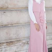 overall dress jumpsuit wanita muslim panjang baju kodok jamsuit js