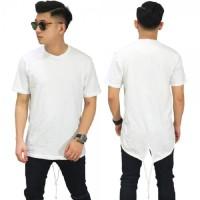 Kaos Longline T-Shirt Fishtail White/ Kaos Hip Hop Streetwear Style