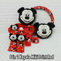 Set Bantal Mobil 6 in 1 Headrest Kepala MICKEY MOUSE Print Red
