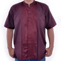 Baju koko muslim putih motif - Pria Laki Cowo - Lengan pendek - BK008B - M