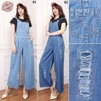 Sivia Jumpsuit overall jeans celana panjang jumbo fit to XL