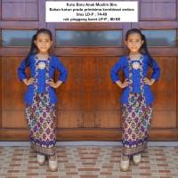setelan baju muslim anak perempuan bahan katun warna biru BAC31