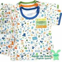 Baju Tidur Aruchi Bayi Laki- laki New Born Lengan Pendek / Nyaman Adem