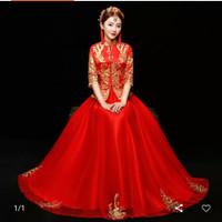 Terlaris Setelan Cheongsam Wanita Rok Payung - Merah, xxxl