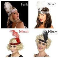 Hiasan bando bulu headband ikat kepala aksesoris rambut pesta - Hitam