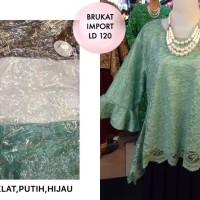 Blouse Brukat Import LD 120 Baju Pesta Big Size Kebaya Atasan Muslim