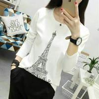 Blazer Wanita Coat Perempuan Top Longsleeve Eiffel Paris White