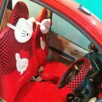 Sarung Jok Mobil AGYA / AYLA Motif HELLO KITTY MERAH BINTIK HITAM