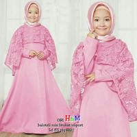 Baju Muslim Anak Usia 7 - 10 Tahun Longdress Polos Mix Brukat Cantik