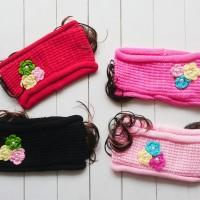 Bando Headband Rajut Anak 3 Flower + Wig 4 Pilihan Warna