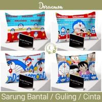 Sarung Bantal / Guling / Cinta Rivest motif Doraemon