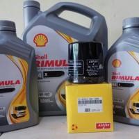 Paket Oli Mobil Diesel SHELL RIMULA R4X 7 L + Filter Oli TOYOTA INNOVA