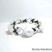Flower Crown Mawar Chiffon Putih - Headpiece - Bando Bunga
