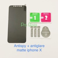 AGSP Iphone X Privacy MATTE AntiSpy - Anti Glare Tempered Glass