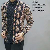 Baju Batik Pria Lengan Panjang Anak Muda Mat Katun Slimfit Premium