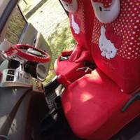 Sarung Jok Mobil Agya Alya Full Set Motif Hello Kitty Bintik Putih