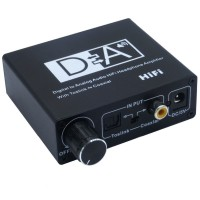 Digital audio to analog audio converter decoder with volume toslink