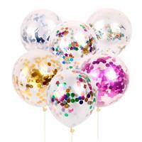 Balon PREMIUM TRANSPARAN + ISI glitter gabus foil gliter