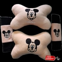 Car Set Bantal Mobil 2in1 Mickey Mouse / Aksesoris Mobil Mickey Mouse
