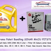 Paket Bundling Shell Helix HX5 & Filter Oli Honda Jazz City Brio CR-V