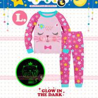 Piyama/Baju Tidur Glow In The Dark Anak Perempuan Kucing Pink