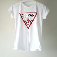 Kaos tshirt baju tumblr tee cewek wanita Guess Logo Segitiga 2 warna