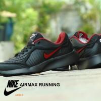 Sepatu Nike Airmax Running Hitam Merah Sport Casual Pria Sekolah