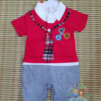 Baju baby cowo Romper jumper fashion import murah - 6-9 Bulan