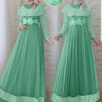 Dress maxy brukat import,baju gamis pesta muslim bunga kombi tile,