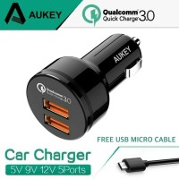Aukey CC -T8 Car Charger Dual Ports Usb Quick Charger -Hitam
