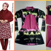 setelan baju renang wanita muslim midi dress celana jilbab beach