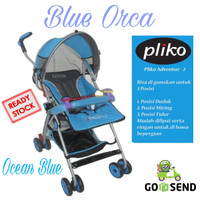 BABY STROLLER PLIKO 108 ADVENTURE 2 / KRETA DORONG BAYI [ OCEAN BLUE ]