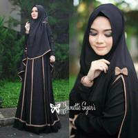 Baju Muslim wanita  Gamis Muslimah cewek Syari List Janetta black