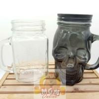 Gelas Tengkorak 500ML Hitam / Gelas harvest / Drinking Jar Warna Hitam