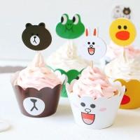 Line Topper Cake Birthday Cupcake