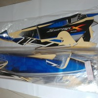 Stiker Bodi & Lis Body & Striping Supra X 125 2008 Hitam Biru Silver