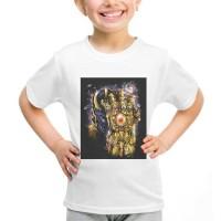 Kaos Baju Tshirt Anak Thanos Gauntlet Infinty War Putih