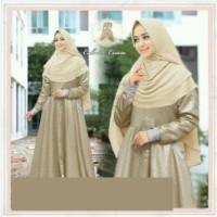 4113 gamis pesta syari muslimah set hijab cream bergo ceruti 2 lapis