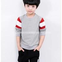 Baju Setelan Anak Laki Import KH62 Kaos Abu Stripe Celana Katun Hitam
