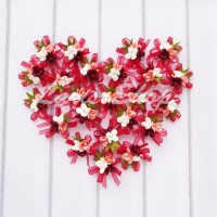 Bunga 3 Kuntum Pita Organdi Bahan Bros Undangan Merah SF205