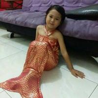 baju renang anak dress mermaid sisik putri ikan duyung anak - PINK FANTA, S