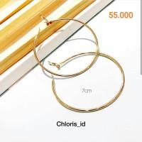 Aksesoris Anting Hoop Bulat Ring Gold