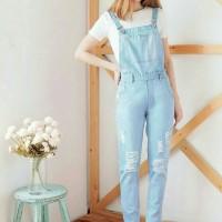 [Janeta soft RO] jumpsuit wanita jeans biru muda