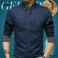 Kemeja biru tua navy polkadot pria hem shirt atasan formal panjang