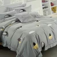 bed cover set katun jepang motif warna abu 150x200 160x200 180x200