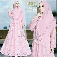 Baju Syari Gamis Busana Muslimah / Setelan Hijab Ummina Babby Pink
