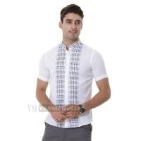 VM Baju Koko Putih Kemeja Muslim Tangan Pendek Slimfit